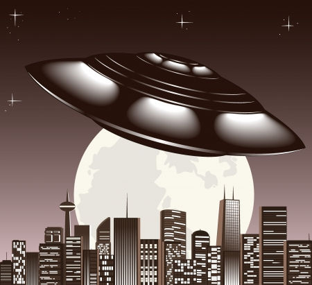 invasion: UFO spaceship and big night city