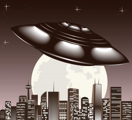 UFO spaceship and big night city