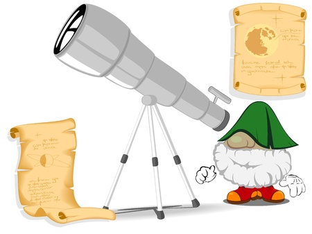 funny astronomer looking through a telescope Vector