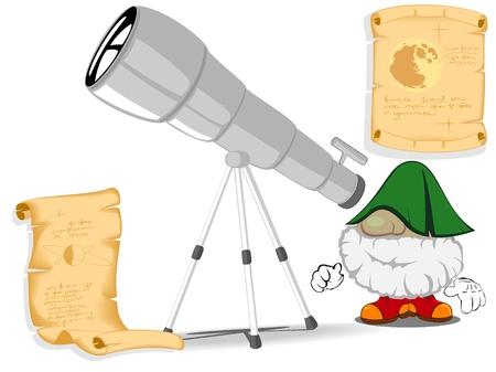 astronomer: funny astronomer looking through a telescope