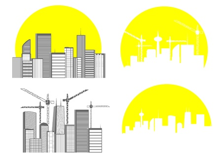 set of silhouettes of big city Stock Vector - 16115157