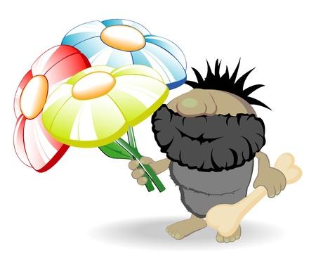 ilustración vectorial de hombre de las cavernas con flores