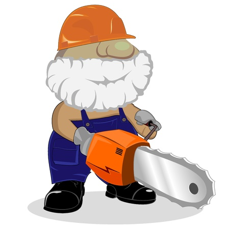 saw blade: cartoon worker with chainsaw. vector 2