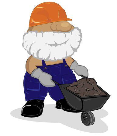 construction firm: cartoon worker with wheelbarrow