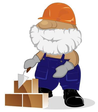 bricklaying: cartoon mason at working
