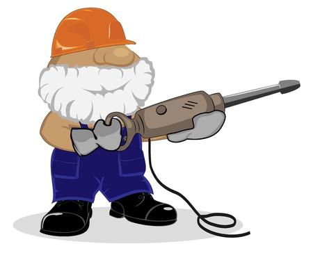 cartoon worker: dibujos animados trabajador con martillo neum�tico