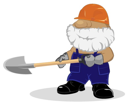 cartoon worker with shovel Vector
