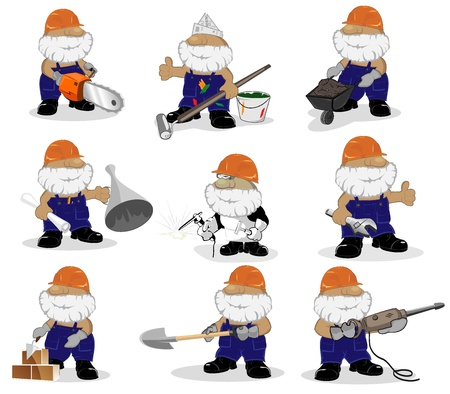 set of cartoon workers  vector illustration