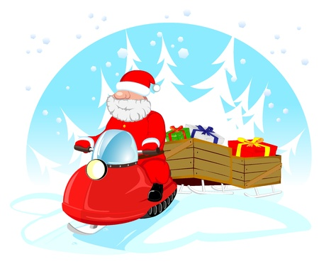 vector illustration of Santa Claus on snowmobile with gifts Stock Vector - 16412758