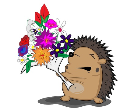 hedgehog with flowers Stock Vector - 16412753