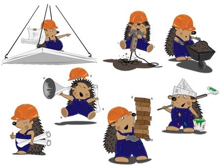 set of hedgehogs builders Stock Vector - 16412759
