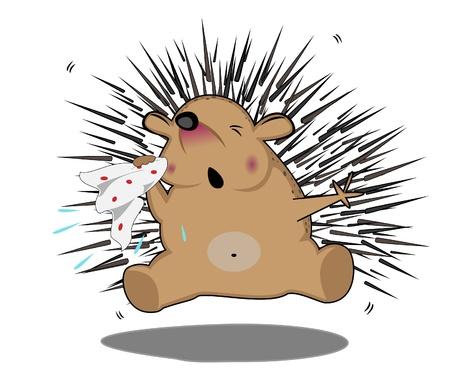 estornudo: enfermo estornudar con un pa�uelo erizo