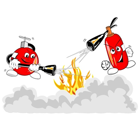 risks button: Vector illustration of brave extinguishers in action