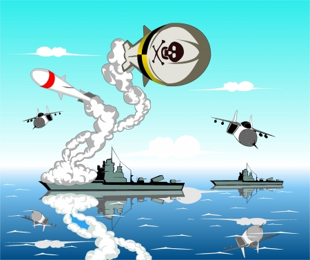 vector illustration of sea battle Stock Vector - 16412772