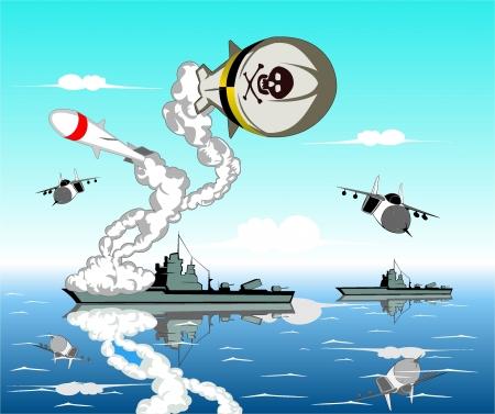 a battleship: vector illustration of sea battle