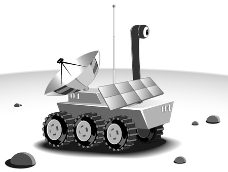 cartoon rover explores an unknown planet Vector