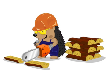 hedgehog in a protective helmet works with a saw