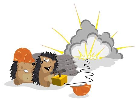 Amusing hedgehogs the builders Stock Vector - 16463984