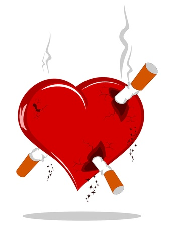 heart with cigarrets on white Иллюстрация