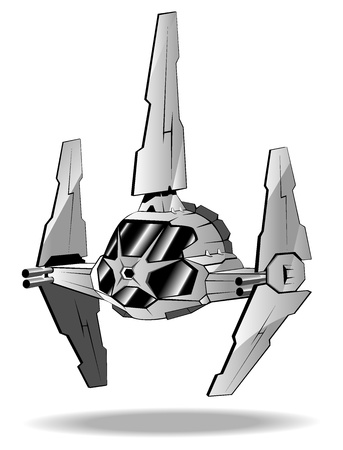 illustration of futuristic spaceship.  Vector