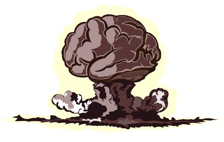 atomic explosion in form of brain Stock Vector - 16878355