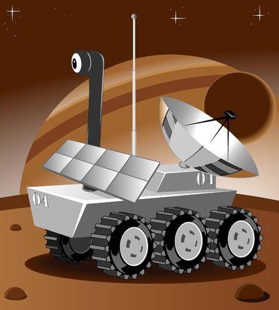 lunar rover: cartoon rover explores an unknown planet