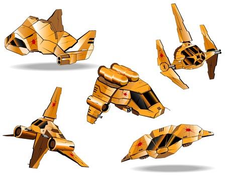 set of futuristic interceptors Stock Vector - 16878375