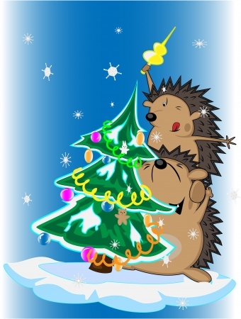 funny hedgehogs and decorated Christmas tree Stock Vector - 16878376