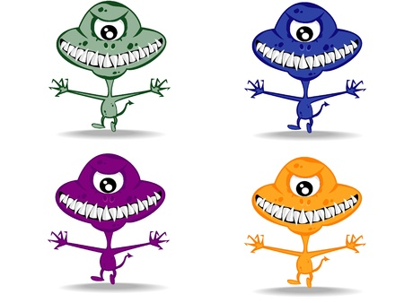 set of varicolored funny monsters vector 10