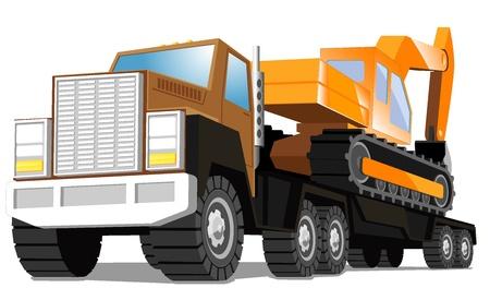 delivers: big truck delivers an excavator Illustration