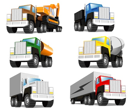 set of trucks.  Vector