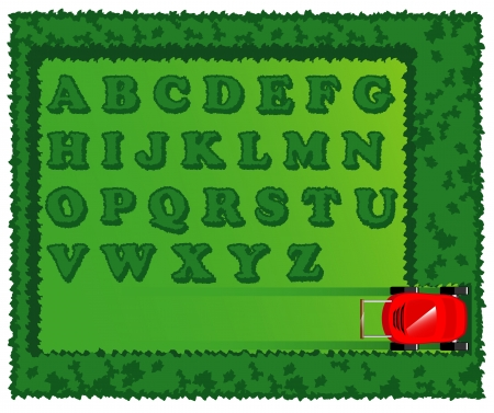 cropped lawn in the form of alphabet  illustration Vector