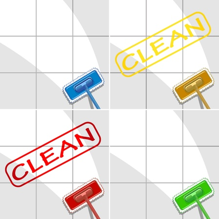 filth: set of varicolored mops in action. vector illustration