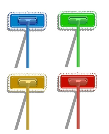 set of varicolored mops. vector illustration Stock Vector - 17325129