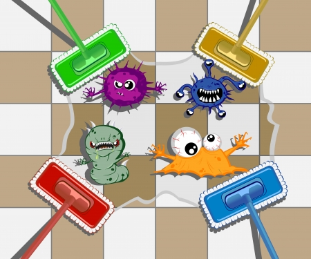 unclean: varicolored mops in action. vector illustration 4 Illustration