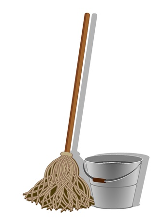 mop floor: illustration of cleaning service image. Vector 3