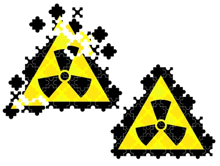 set of puzzles in form sign of radiation threat Stock Vector - 17444341