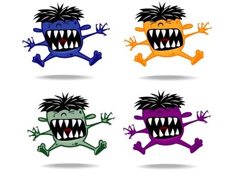 intruder: set of varicolored funny monsters