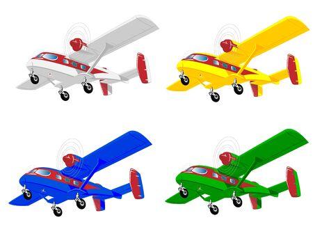 varicolored: set of varicolored aircrafts