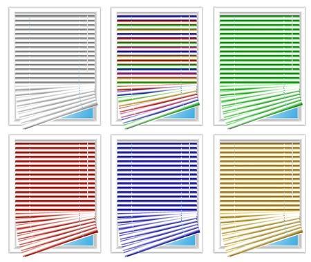 set of varicolored jalousies illustration Illustration