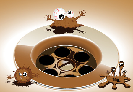 dirty rusty sink with cartoon microbes  vector 2 Vector