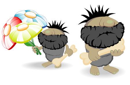 masculinity: vector illustration of two cavemen Illustration