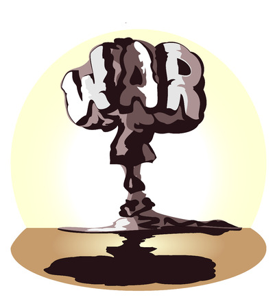 destructive: cloud of atomic explosion in form word war  vector illustration