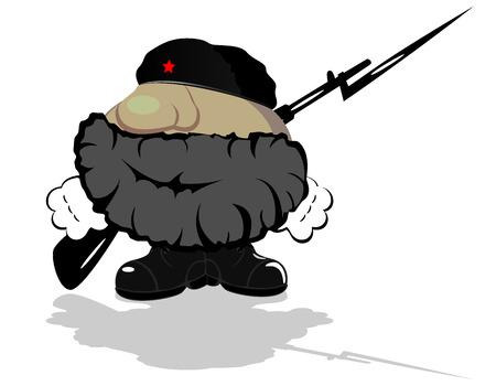guerrilla warfare: funny cartoon hero  vector 4 Illustration
