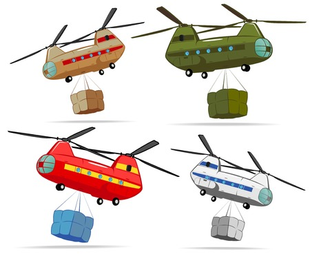 set of transport helicopters with cargo Vector