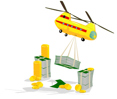 delivers: small helicopter delivers money  abstract illustration