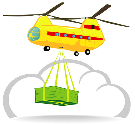 economic recovery: helicopter delivers money Illustration