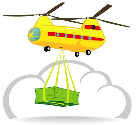 delivers: helicopter delivers money Illustration