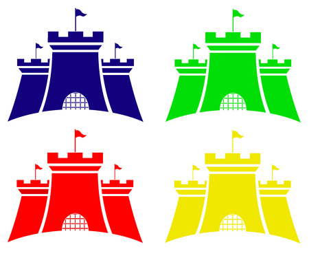 contry: set of color castles  vector illustration