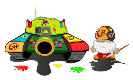 funny cartoon soldier and painted tank  vector illustration Vector